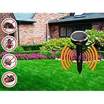 Solar Exterminator mole repellent, sonic solar repellents, water resistant, fights off gophers, VOLES, SNAKES, MICE, SHREWS