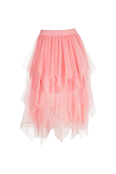 46a470b9a2e92b Boohoo Womens Boutique Nolita Layered Tulle Midi Skirt in Nude size ...