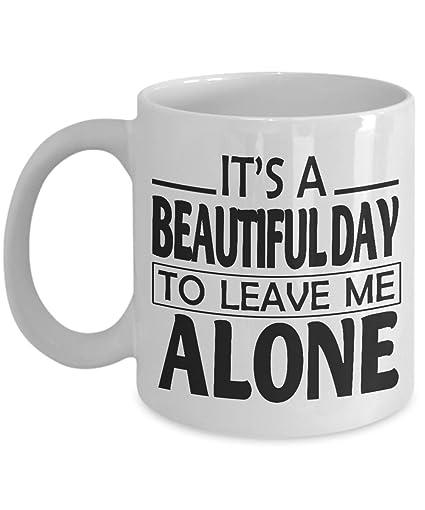 Amazon.com: It\'s A Beautiful Day To Leave Me Alone Mug, 11 ...