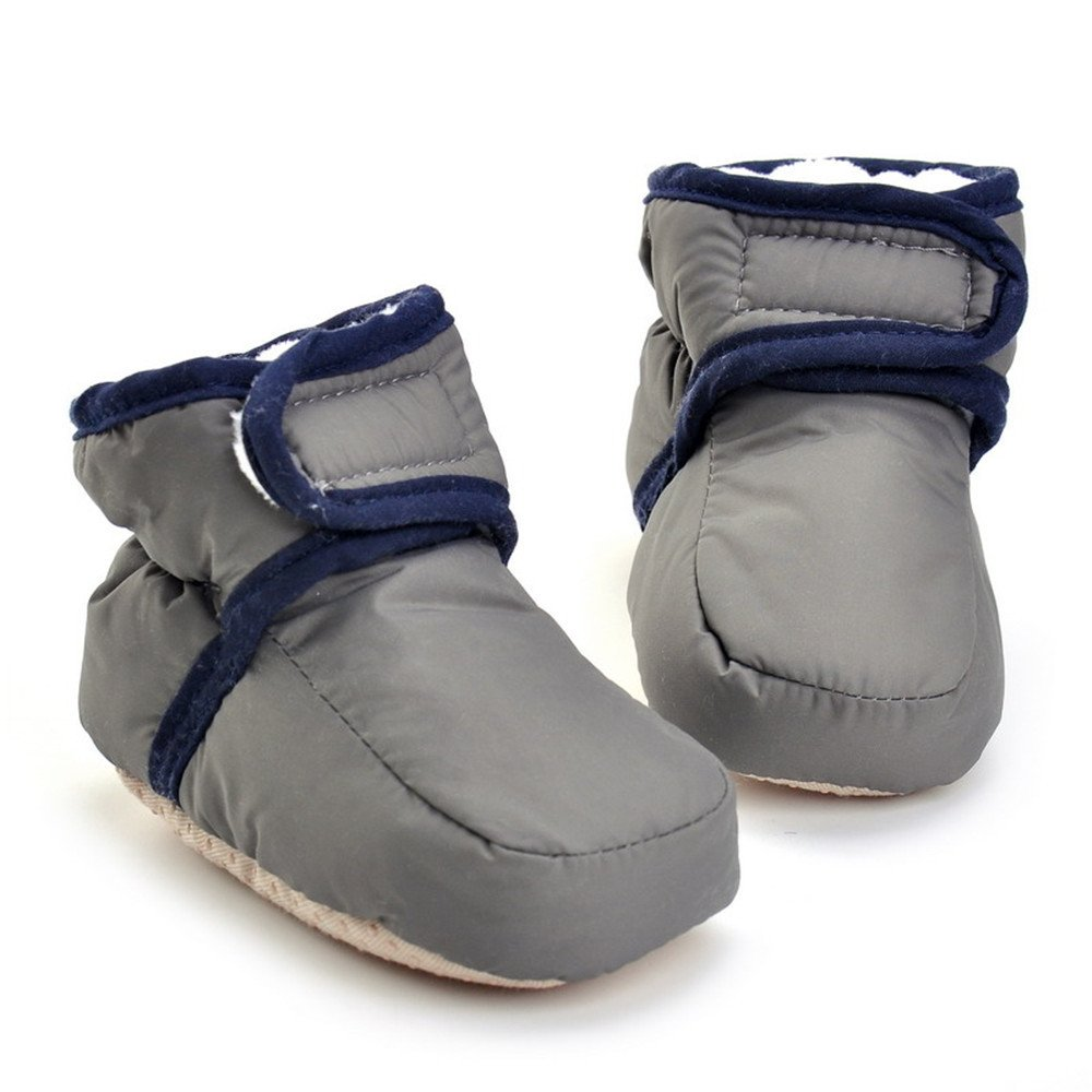 Estamico Baby Boys Girls Hook and Loop Winter Warm Boots Crib Shoes Gray 12-18 Months