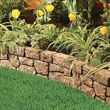 Amazon.com : Gardeneer Stonewall Faux Stone Border Edges, Tan, Pack Of 4 :  Garden U0026 Outdoor