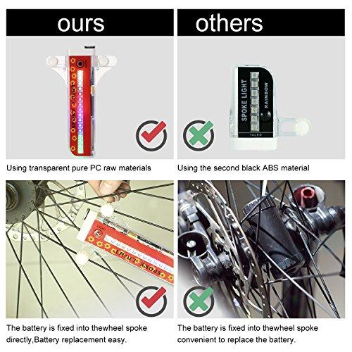 Bicycle Spoke Lights,32-LED Waterproof Bike Tire Spoke Lights Bike Rim LightsWith 32 Patterns, Energy-saving Automatic Mode and Manual Mode by Tivolii (Image #4)