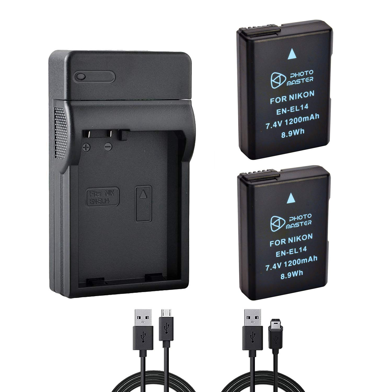 2 X EN-EL14 EN-EL14 a batería + rápido Doble USB Cargador para Nikon D3300 D5300 D5500 D3200 D5200 D5100 D3100 D3S Digital Camera