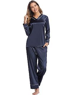 Abollria Pijamas Saten Mujer Manga Larga Set, Ropa de Dormir Elegante y Moda 2 Piezas: Amazon.es: Ropa y accesorios