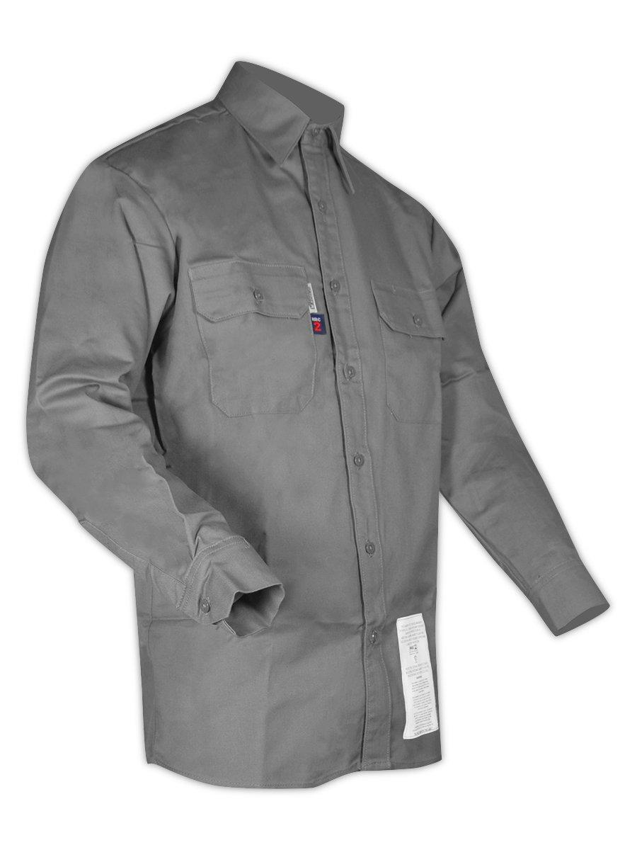 Magid Glove & Safety SBG70DHXL Dual-Hazard 7.0 oz. FR 88/12 Work Shirts, 88% Cotton/12% Nylon, X-Large, Grey