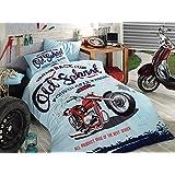 Vintage Race Club %100 Cotton Boy's Old School Single Twin Duvet Quilt Cover Set Bedding Linens 3 Pcs