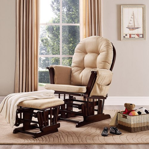 Baby Relax Harbour Glider Rocker and Ottoman Set - Beige - Nursery Furniture - Living Room Furniture's - Gliding Ottomans - Microfiber Upholstery - Button-tufted Backrest and Wide Seating with - Rocker Collection Glider
