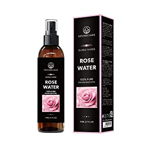 Organic Rose Water - Therapeutic Grade, Pure, Bulgarian, Hexane-Free, Alcohol Free - Best for Facial Toner, Skin, Hair, Body Care, Travel Spray - Fine Mist Sprayer (3.7 oz)