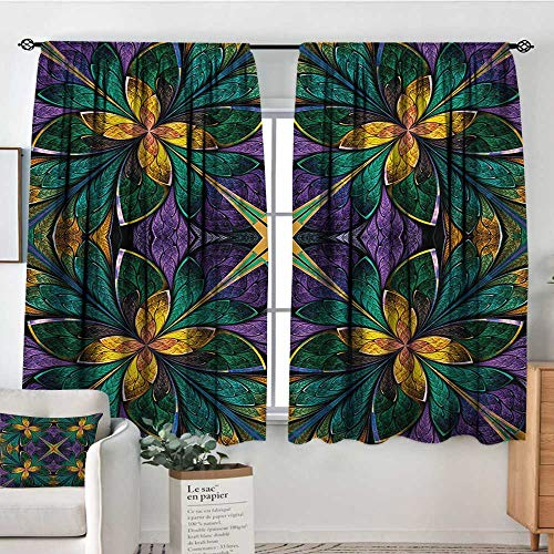 Fractal Blackout Window Curtain Antique Ornate Symmetric Stained Glass Mosaic Window Style Floral Tile Pattern Blackout Draperies for Bedroom 63