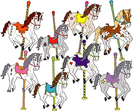 Amazon com carousel horses wall decals stickers horse wall decor home kitchen