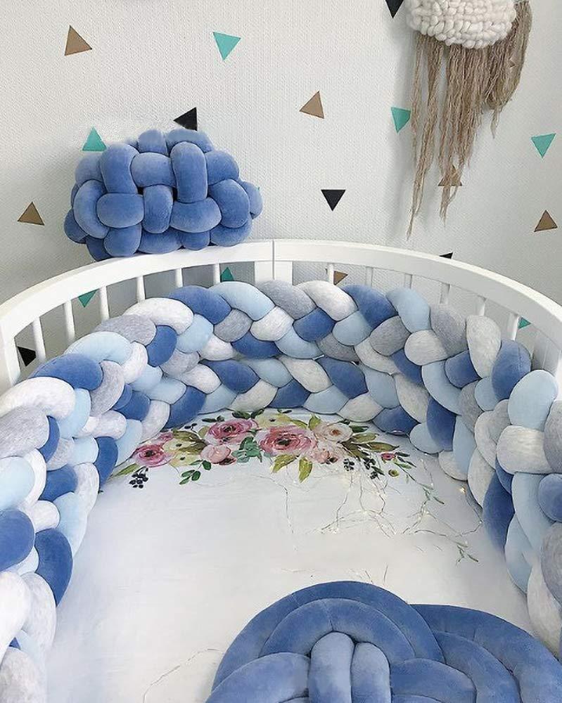 TROYSINC 4 Weben Babybett Bettumrandung Kantenschutz Kopfschutz Geflochtene Dekoration Nestchen Kinderbett Sto/ßstange