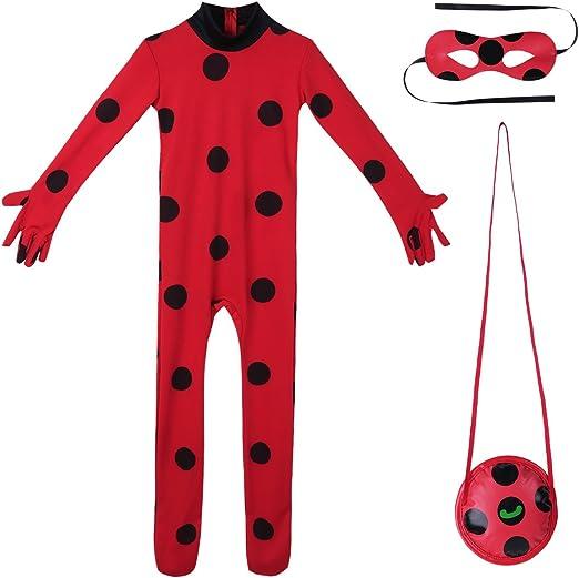 Alvivi 3Pcs Traje de Disfraces Mariquita Halloween Cosply Leotardo con Lunares Mono de Actuación Bodysuit de Una Pieza Conjunto Vestuario para Mujer: Amazon.es: Ropa y accesorios