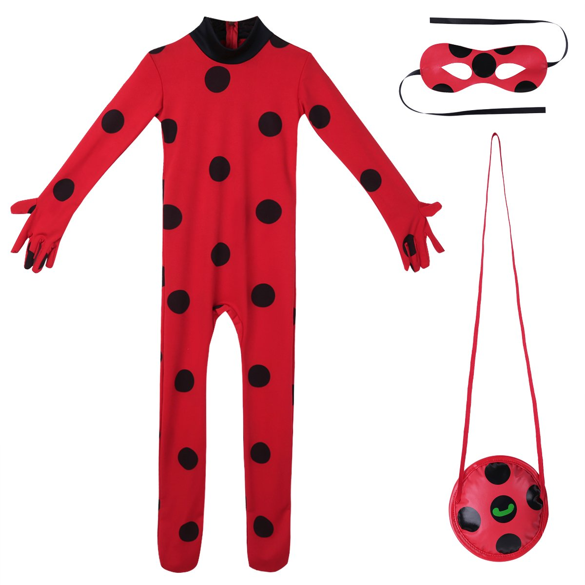 Freebily Kids Girls Ladybug Outfits Costume Girls Marinette Dress Cosplay Jumpsuit for Halloween Performance Red(Outfits) 10-12