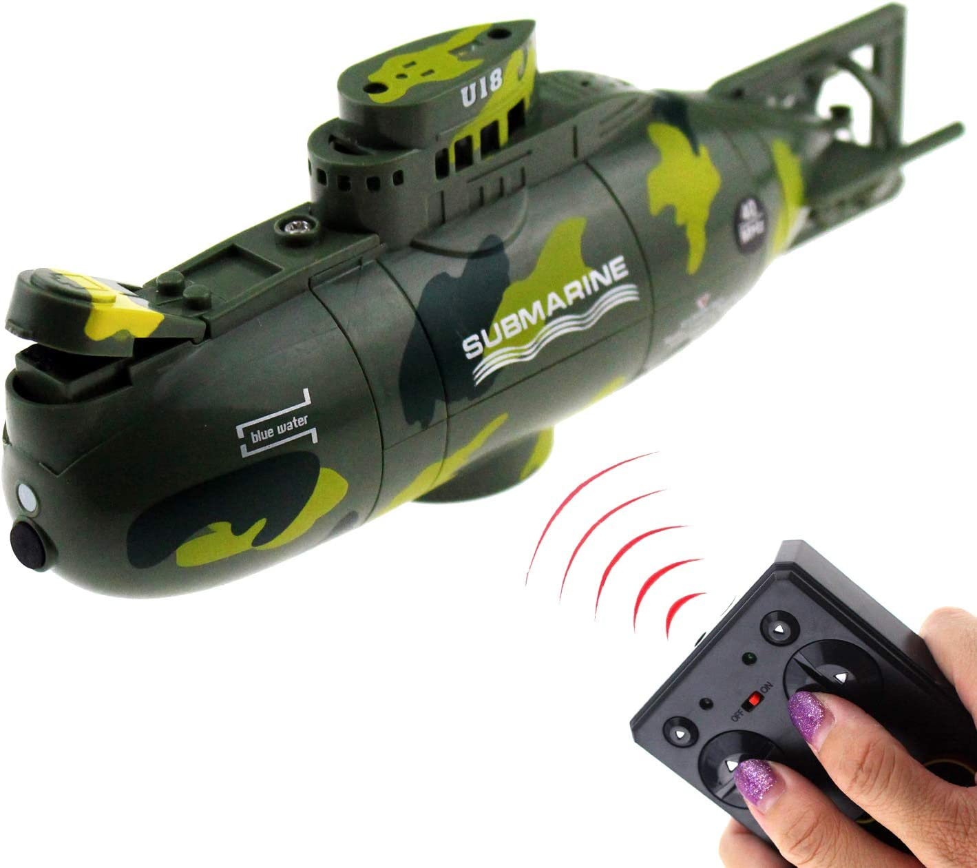 Tipmant Mini RC Submarine Remote Control Boat Ship Military Model Electronic Water Toy Waterproof Diving for Swimming Pool, Fish Tank Kids Gift (Green)