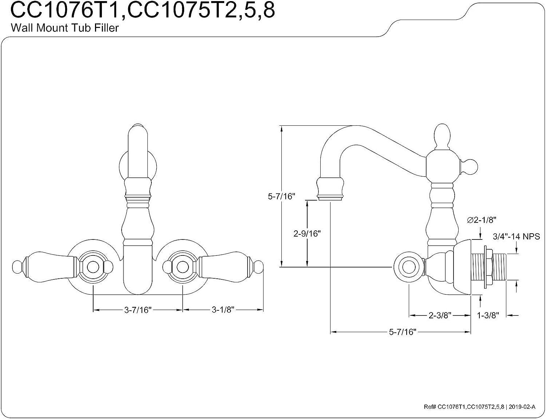 킹스톤 황동 CC1076T1 헤리티지 3-3 | 8 인치 센터 빈티지 다리 욕조 필러 H&C 도자기 레버 광택 크롬