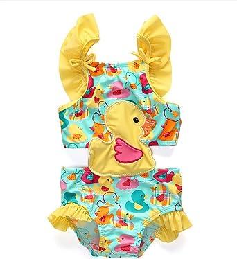 BEFULY 2018 New Arrival Beach Swimwear Baby Girls Cute Yellow Duck One  Piece Swimsuit 18M- b36741b0255f