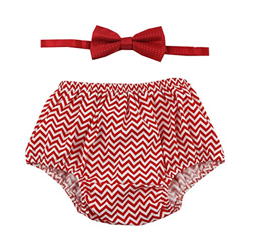 Cake Smash Outfit Boy First Birthday Includes Bloomers and Bow Tie (Red Chevron Bloomer and Red Bow)