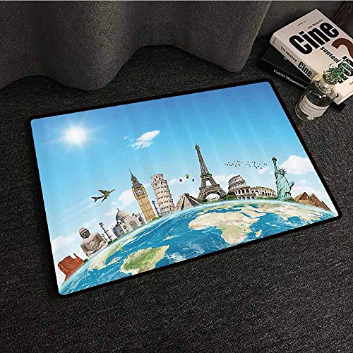 Adventure Begins Decorations Collection Outdoor Door mat Famous Monuments of Pisa Taj Mahal Giza Pyramids Paris Design Non-Slip Door mat pad Machine can be Washed W31 xL47 Blue Ivory Gray White