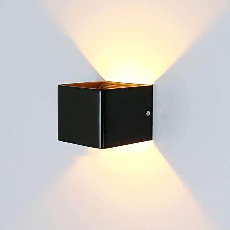 half off d6ae6 ec11b Lightess 5W LED Wall Light Cube Modern Wall Lights Black Up Down Wall Lamp  Indoor Wall Sconce for Living Room Bedroom Corridor Hallway Warm White Cube  ...