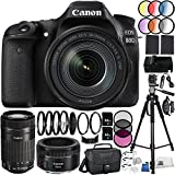 Canon EOS 80D DSLR Camera 39PC Kit - International Version (No Warranty) w/Canon EF-S 18-135mm f/3.5-5.6 IS USM Lens, Canon EF-S 55-250mm f/4-5.6 IS STM Lens, Canon EF 50mm f/1.8 STM Lens, MORE