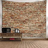 Msliy Red Brick Wall Stone Tapestry Polyester Fabric Brick Wall Theme Tapestry Hanging for Bedroom Living Room Dorm (red, 59x51inches)