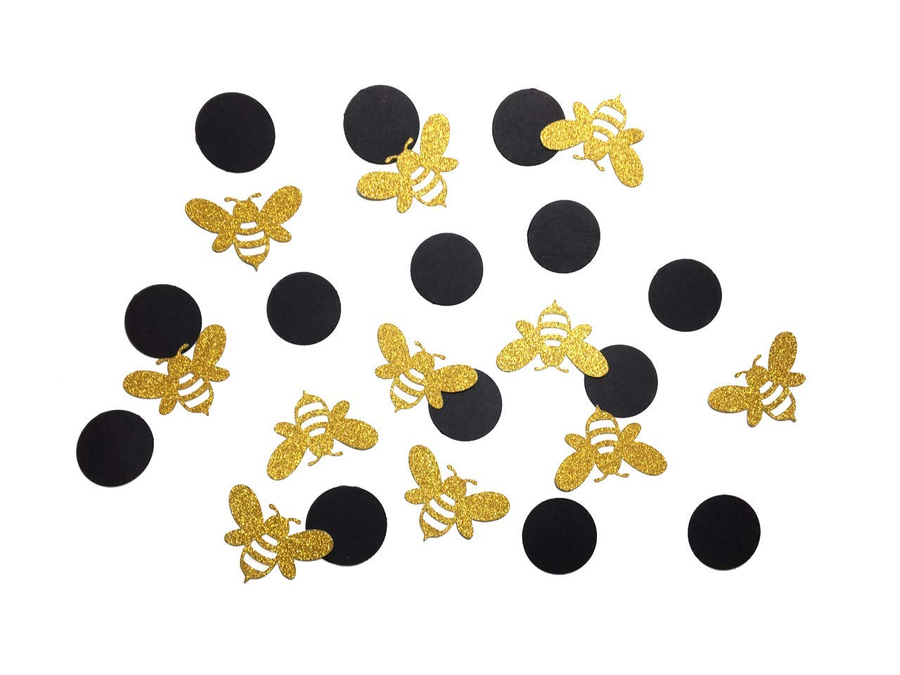 120 pcs Gold Glitter Bee and black circle confetti mommy mom bride to bee baby shower birthday table party decoration