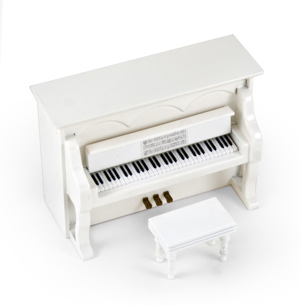 Miniature 18 Note Musical Hi - Over 400 Song Choices - Gloss White Upright Piano with Bench America the Beautiful by MusicBoxAttic
