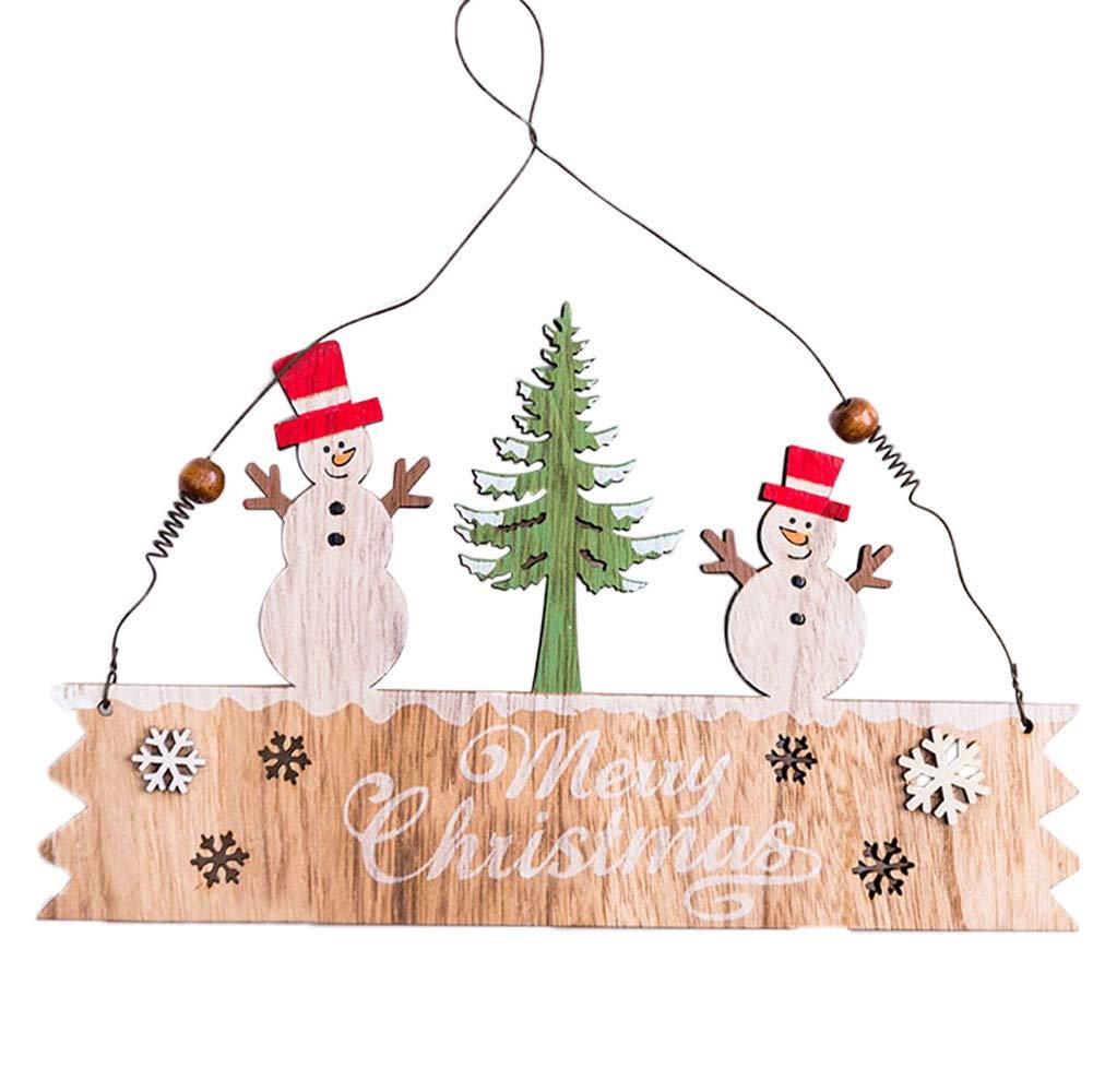 Lovewe Christmas Elk Wood Plate,Hollow Door Hanging,Wooden Pendant,Xmas Ornaments Decor (B)