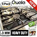 QUALA. Gas Range Protectors 5 Pack + FREE EBOOK ! - Stove Protector Burner Cover Cook Top Hob Liners. Reusable Easy Clean Non Stick FDA Approved Prime ? 3MM TRIPLE THICKNESS.