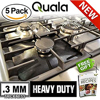QUALA Gas Range Protectors 5 Pack + FREE EBOOK ! - Stove Protector Burner Cover Cook Top Hob Liners .3MM TRIPLE THICKNESS Reusable Easy Clean Non Stick, FDA Approved Prime ✔