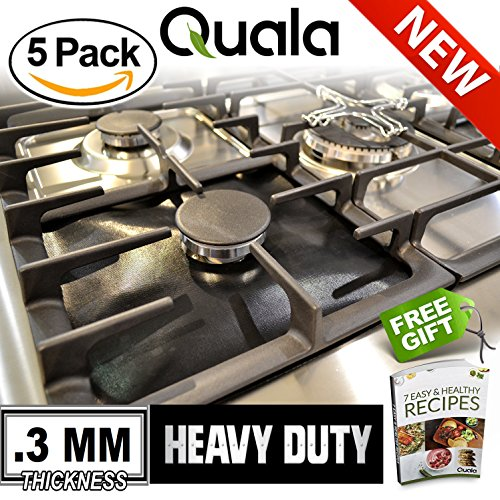 QUALA. Gas Range Protectors 5 Pack + FREE EBOOK ! - Stove Protector Burner Cover Cook Top Hob Liners. Reusable Easy Clean Non Stick FDA Approved Prime  3MM TRIPLE THICKNESS.