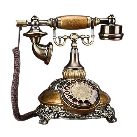 Retro telefono FJH Mobile del Metallo Giallo Che Gira Doppio