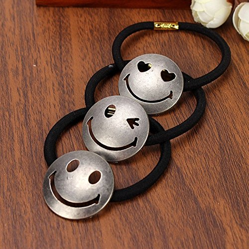 Pack of 6 SILVER Fashion Smile Face Elastic Hair Bands For Women Girls Ponytail Cute Emoji Hair Tie Headwear Hair Accessories