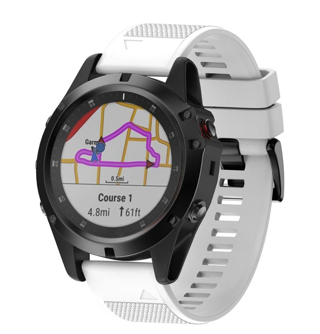 YJYdada Replacement Silicone Quick Release Easy Fit Wirstband for Garmin Fenix 5X Plus (White)