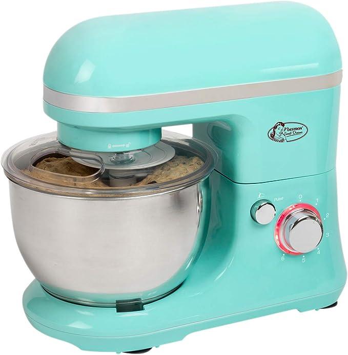 Bestron Robot de Cocina con Batidor, Gancho para Masa y Brazo Mezclador, Diseño Retro, Sweet Dreams, 1000 Vatios, Verde Menta: Amazon.es: Hogar