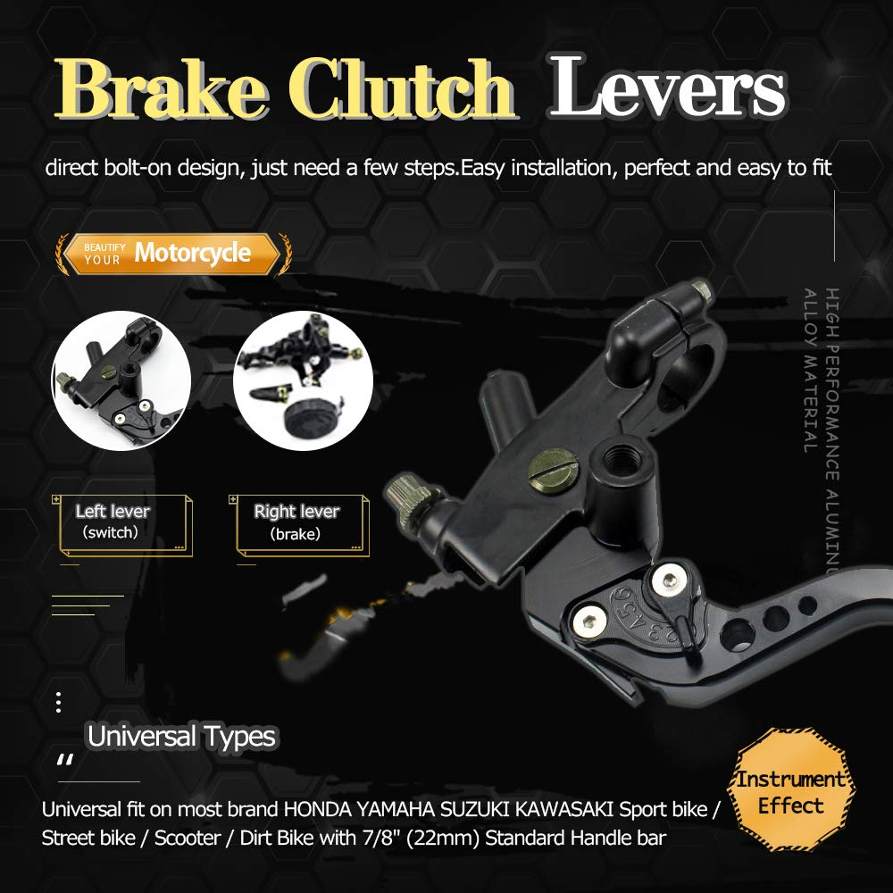 black YAOFAO Universal Motorcycle Front Brake Clutch CNC Master Cylinder Fluid Reservoir Levers For Sport Bike//Street Bike//Dirt Bike//Scooter With 7//8 22mm Standard Handle Bar.