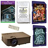 AtmosFearFx Christmas and Halloween Digital Decoration Kit includes 1900 lumen Projector, Hollusion + Reaper Bros Rear Projection Screens, Santa's Workshop and Ghostly Apparitions on SD Cards