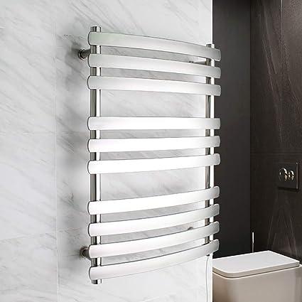 JackeyLove Calentadores de Toallas de Acero Inoxidable eléctrico Calentador calefacción radiador Montaje en Pared toallero baño