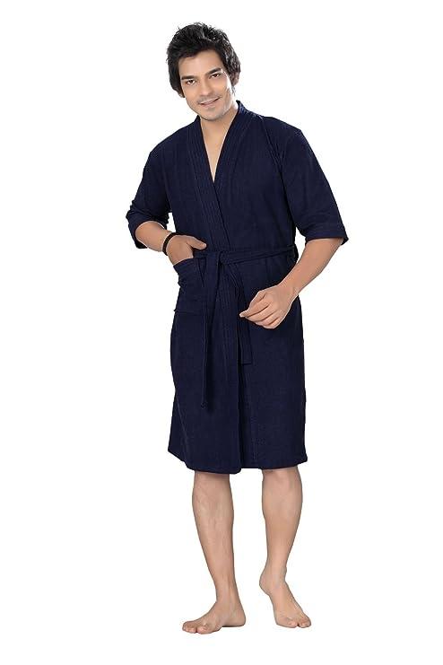6507dc8e15 Buy Superior Men s Terry Towel Cotton Bathrobe (Navy Blue