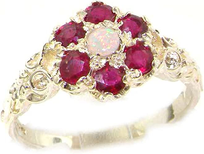 925 Sterling Silver Real Genuine Ruby Womens Band Ring
