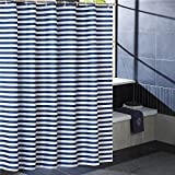 Pink and White Striped Shower Curtain JES&MEDIS Waterproof Mildew Bathroom Curtain Navy Blue Stripes Shower Curtain,72-Inch by 72-Inch
