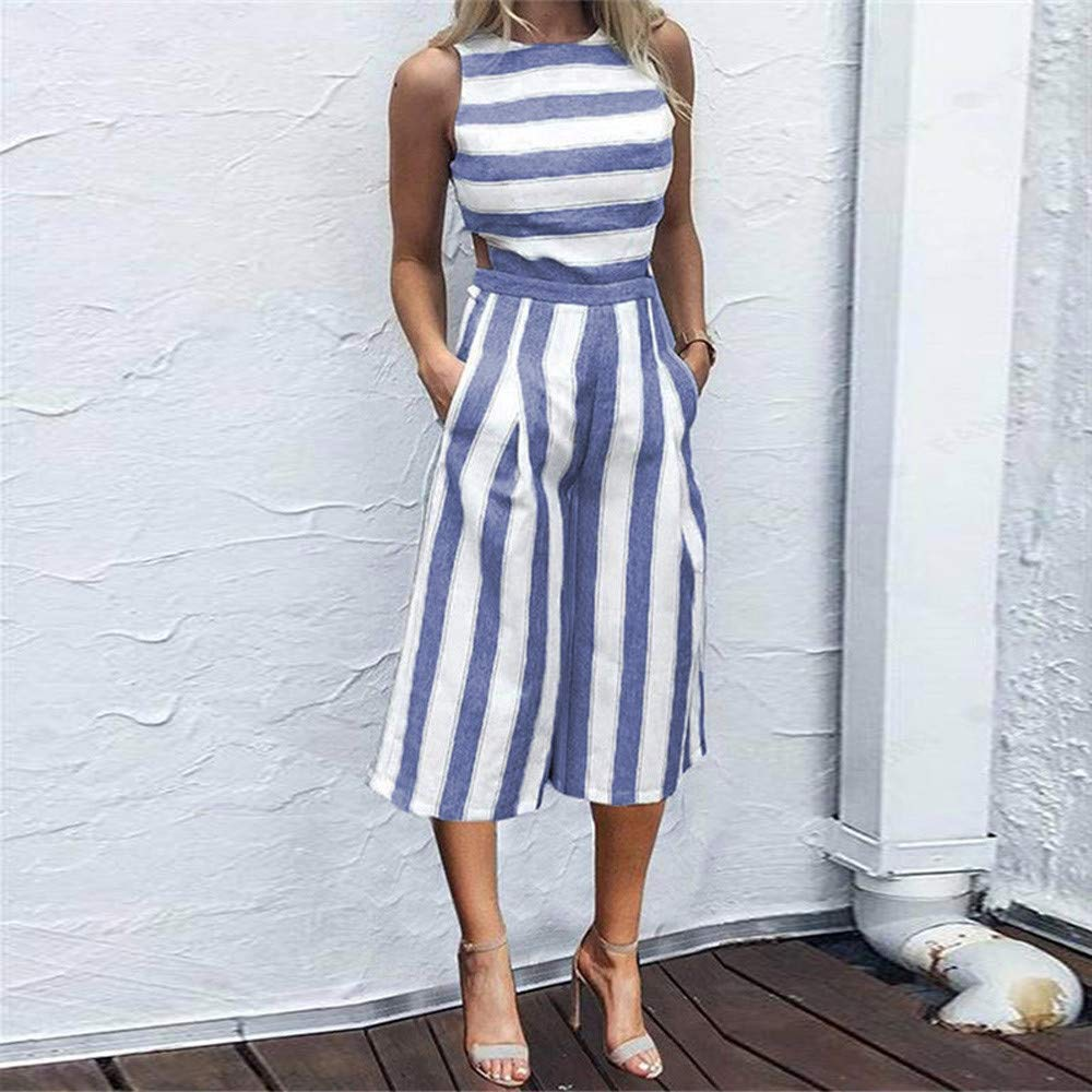 Mosstars Women Long Rompers,Ladies Sale Summer Stripe Wide Leg Beach Playsuit Clubwear Casual Round Neck High Waist Sleeveless Jumpsuit Outfit