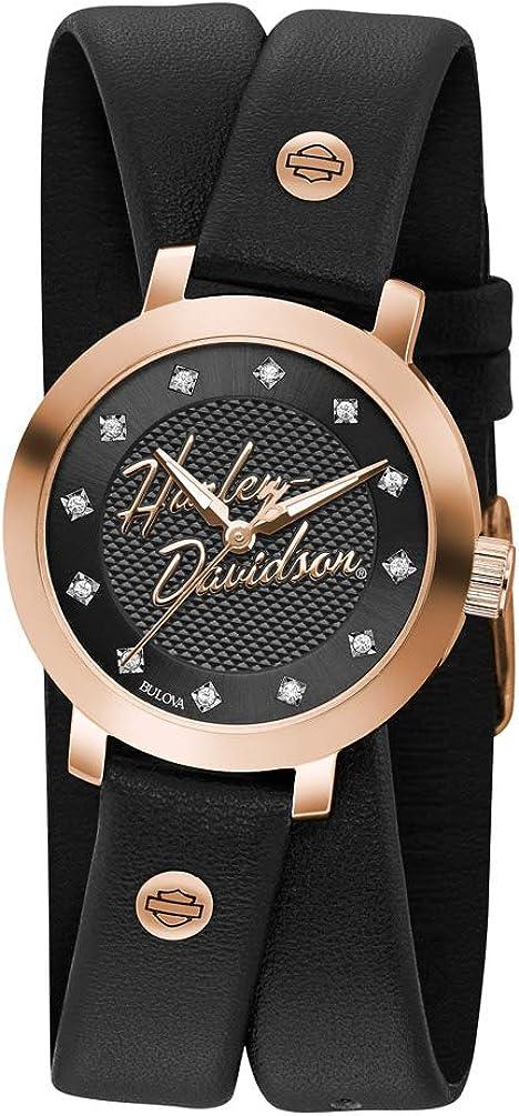 Harley-Davidson Reloj de mujer de cuero con doble envoltura de cristal de oro rosa 77L109