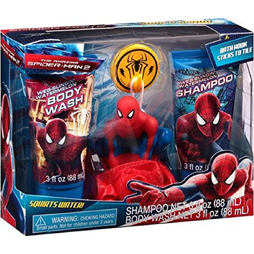 Marvel The Amazing Spider-Man 2 Soap & Scrub Gift Set, Web Slingin' Watermelon Shampoo and Body Wash, Hook and Bath Sponge, 4 pc