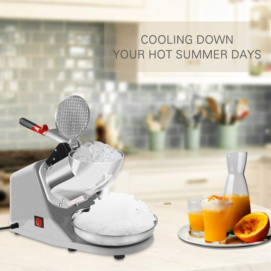 Electric Ice Crusher Shaver Snow Cone Maker Machine Silver 143lbs/hr for Home and Commerical Use ETL Safety Standard Certified