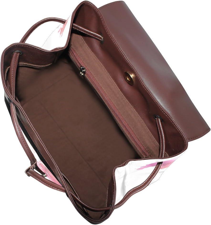 KUWT Pink World Map PU Leather Backpack Photo Custom Shoulder Bag School College Book Bag Rucksack Casual Daypacks Diaper Bag for Women and Girl