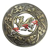 AAR Scottish Kilt Fly Plaid Brooch Welsh Dragon Antique/Chrome Finish 3'' (7cm) (Antique) S