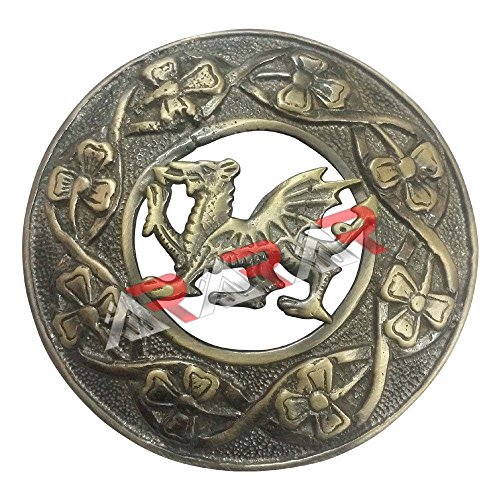 (AAR Scottish Kilt Fly Plaid Brooch Welsh Dragon Antique/Chrome Finish 3