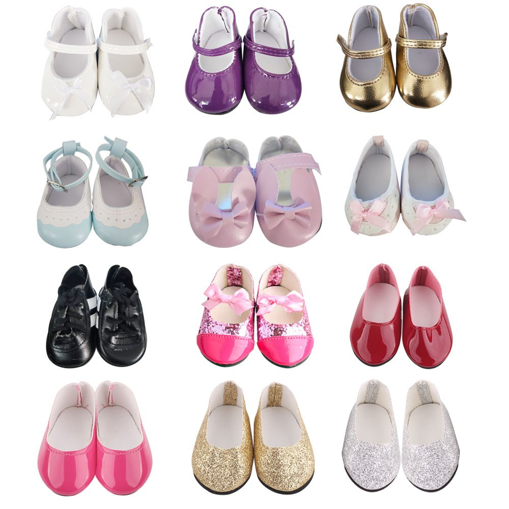 5 pairs of ZWSISU Doll Shoes Include Boots Leather Shoes and Cloth shoes Fits 18 Inch American Girl Doll