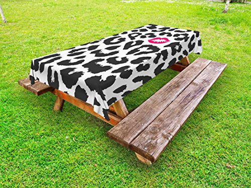 Ambesonne Safari Outdoor Tablecloth, Leopard Cheetah Animal Print with Kiss Shape Lipstick Mark Dotted Trend Art, Decorative Washable Picnic Table Cloth, 58 X 104 Inches, Charcoal Grey Pink ()